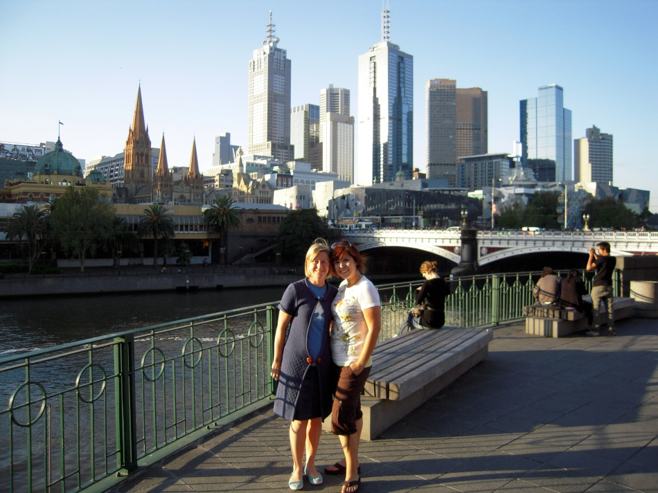 On the Yarra river bank with Janey, downtown Melbourne in the background.