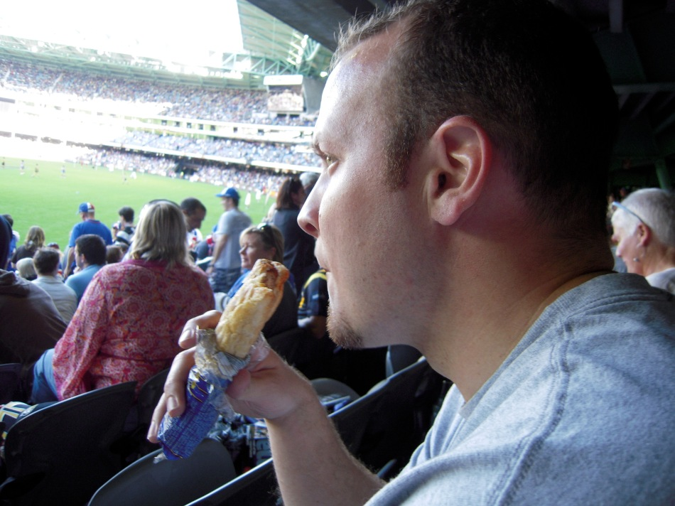 Trying out the stadium food...